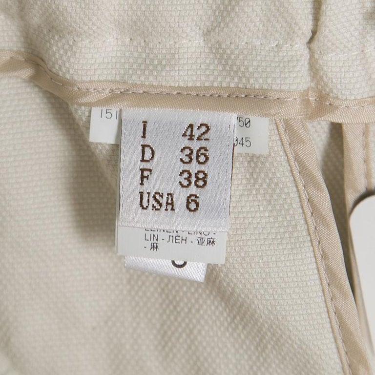 Cucinelli Beige Linen Cotton Fringed Side Seam Detail Shorts M For Sale 2