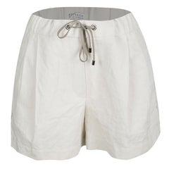 Cucinelli Beige Linen Cotton Fringed Side Seam Detail Shorts M