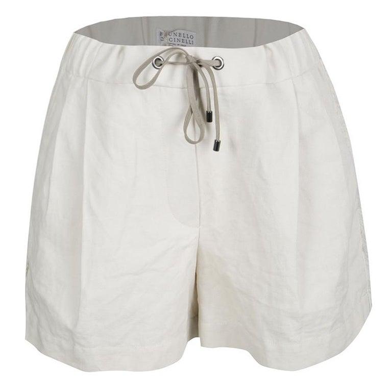 Cucinelli Beige Linen Cotton Fringed Side Seam Detail Shorts M For Sale