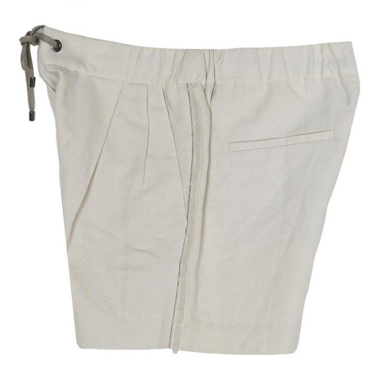 Cucinelli Beige Linen Cotton Fringed Side Seam Detail Shorts M For Sale 4
