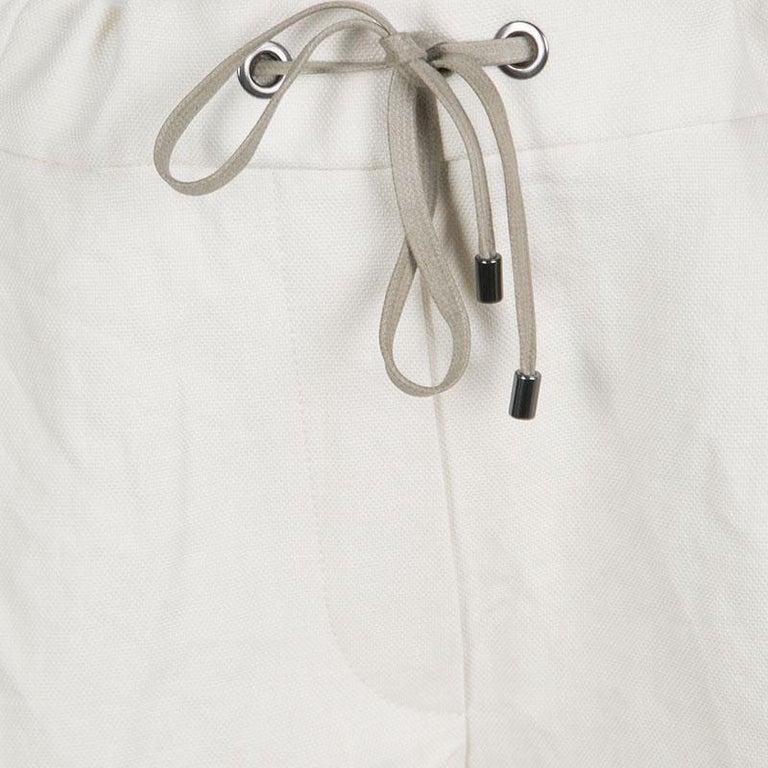 Cucinelli Beige Linen Cotton Fringed Side Seam Detail Shorts M For Sale 1