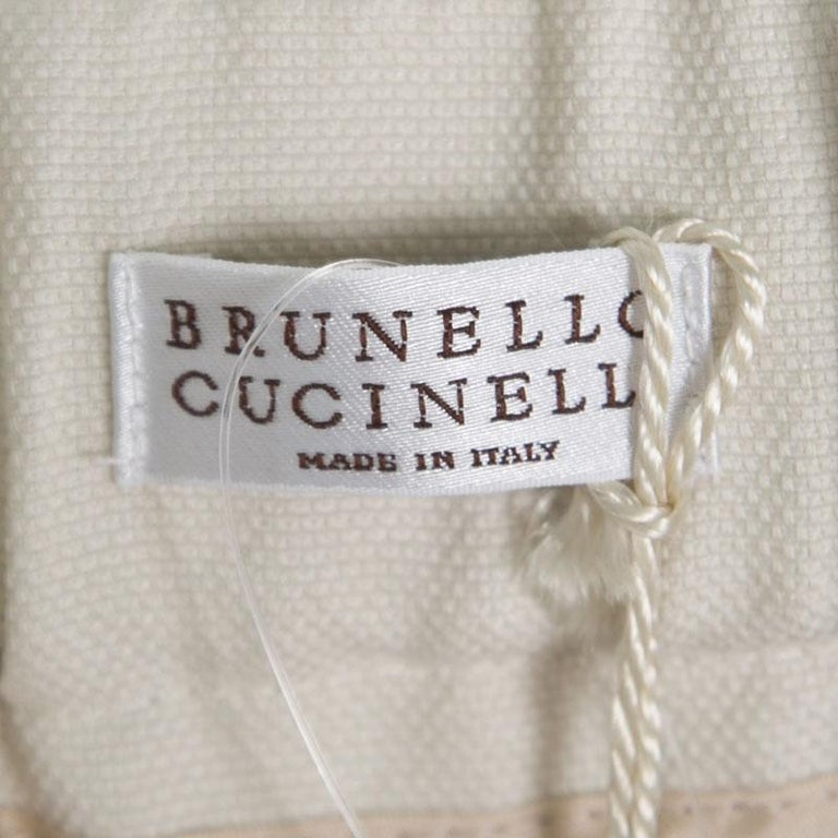 Cucinelli Beige Linen Cotton Fringed Side Seam Detail Shorts M For Sale 3