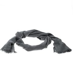 Brunello Cucinelli Grey Cashmere Cotton Fringed Edge Scarf