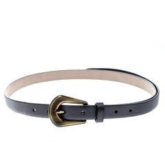 Brunello Cucinelli Metallic Grey Leather Western Buckle Belt 90cm