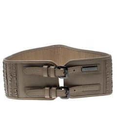 Burberry Beige Leather Ruffle Double Buckle Wide Belt 70cm