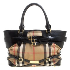 Burberry Beige/Black House Check Canvas and Leather Medium Bridle Lynher Tote