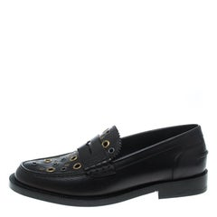 Black Leather Bedmont Eyelet Detail Penny Loafers Size 39