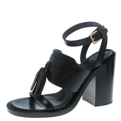 Black Leather Bethany Tassel Detail Block Heel Sandals Size 38