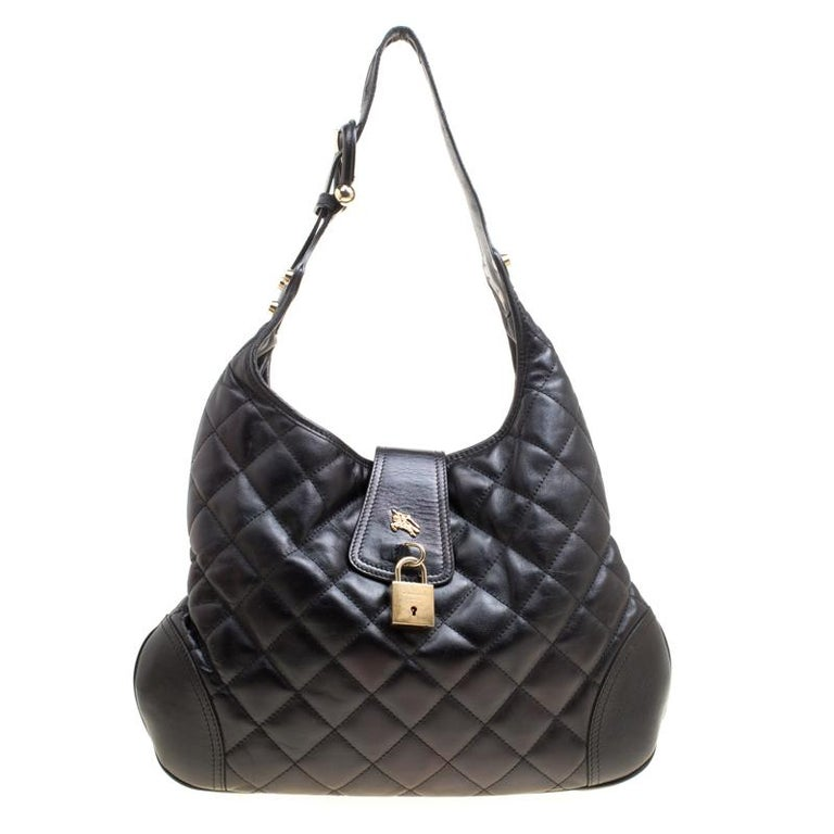 2056c6e2c9d9 Burberry Black Quilted Leather Brooke Hobo For Sale at 1stdibs