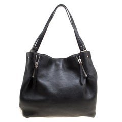 Burberry Black Textured Leather and Nova Check Canvas Zip Detail Tote