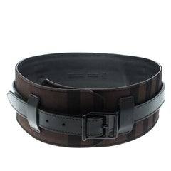 Burberry Black/Dark Brown Check Fabric Wide Belt 85cm
