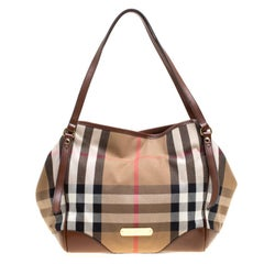 Burberry Brown House Check Fabric Medium Canterbury Tote