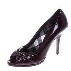 Burberry Burgundy Patent Leather Peep Toe Pumps Size 40