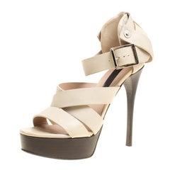 Burberry Prorsum Beige Leather Strappy Platform Sandals Size 37