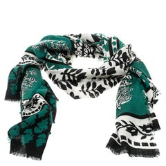 Burberry Prorsum Dusty Teal Patchwork Floral Geo Print Cashmere Scarf