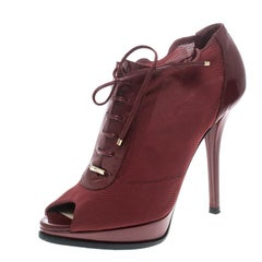 Burberry Red Elasticated Mesh and Patent Leather Lace Up Peep Toe Ankle Booties
