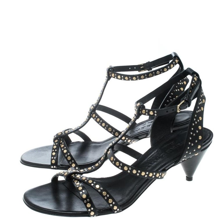17816ac321 Women's Burberry Black Leather Studded Hansel Cone Heel T Strap Sandals  Size 40 For Sale
