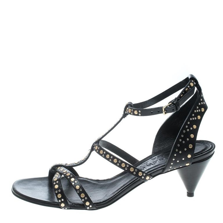 3efdaa1864 Burberry Black Leather Studded Hansel Cone Heel T Strap Sandals Size 40 For  Sale