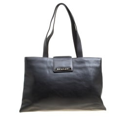 Bvlgari Black Leather Shopper Tote