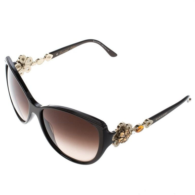 df001280c7 Bvlgari Black Limited Edition 8097-B Crystal Flower Cat Eye Sunglasses In  Good Condition For
