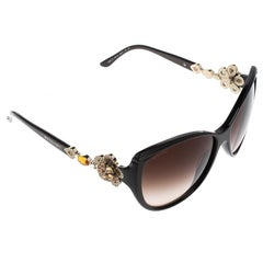 Bvlgari Black Limited Edition 8097-B Crystal Flower Cat Eye Sunglasses