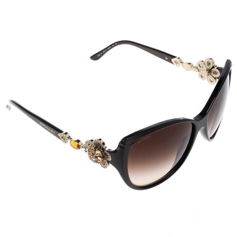 71104b7d13 Bvlgari Black Limited Edition 8097-B Crystal Flower Cat Eye Sunglasses For  Sale