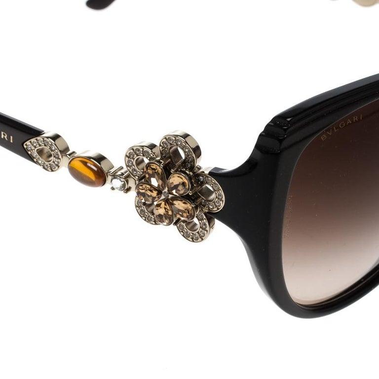 6650316f71 Women s Bvlgari Black Limited Edition 8097-B Crystal Flower Cat Eye  Sunglasses For Sale