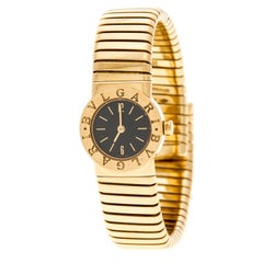 Bvlgari Black Tubogas 18K Yellow Gold Women's Wristwatch 19MM