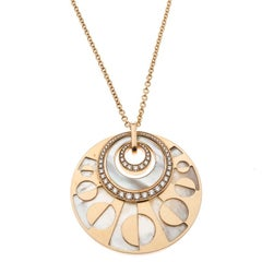 Bvlgari Intarsio Diamond Mother of Pearl 18K Rose Gold Medallion Necklace