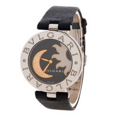 Bvlgari B. Zero1 Black Sun & Moon Diamond Inlay Motif BZ 35 S Women's Watch 35MM