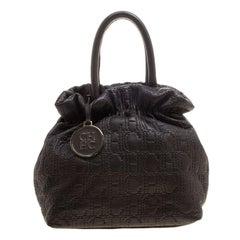 Carolina Herrera Black Monogram Embossed Leather Tote