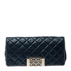 Carolina Herrera Blue Quilted Leather Clutch