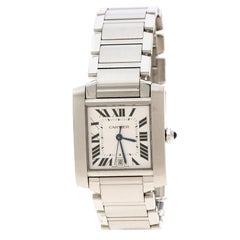 Cartier Silver White Stainless Steel Tank Francaise 2302 Women's Wristwatch 28 m