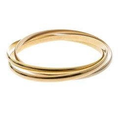 Cartier Trinity De Cartier 18k Three Tone Gold Rolling Bangle Bracelet