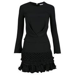Carven Black Moroccan Crepe Ruffled Bottom Long Sleeve Dress S