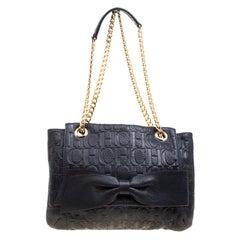 Carolina Herrera Dark Blue Monogram Leather Audrey Shoulder Bag