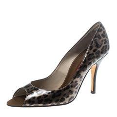 Carolina Herrera Leopard Print Leather Peep Toe Pumps Size 39