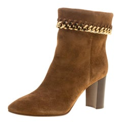 Casadei Brown Suede Renna Chain Trim Ankle Boots Size 38.5