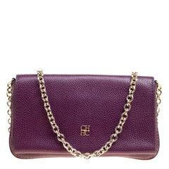 Carolina Herrera Purple Leather Chain Clutch