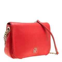 Carolina Herrera Red Leather New Baltazar Flap Shoulder Bag