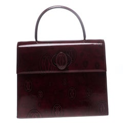 Cartier Bordeaux Patent Leather Happy Birthday Top Handle Bag