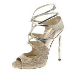 Casadei Metallic Gold and Lamè Fabric Ankle Strap Peep Toe Sandals Size 36