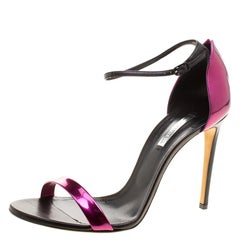 Casadei Metallic Magenta and Black Leather Candylux Ankle Strap Open Toe Sandals