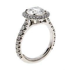 Cartier 1895 Destinee 2.08ct Diamond Solitaire Platinum Halo Engagement Ring Siz
