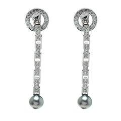 Cartier Agrafe Diamond Grey Pearl 18k White Gold Long Drop Earrings