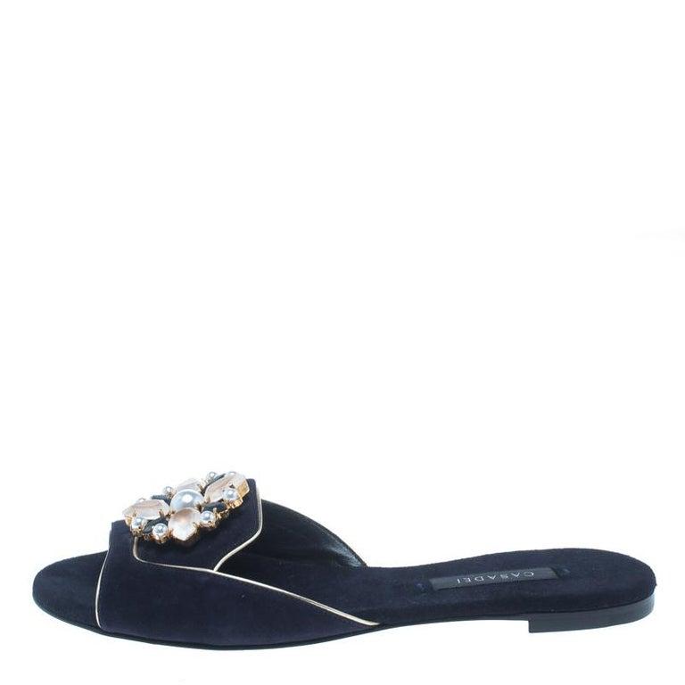 casadei navy blue suede crystal brooch embellished peep toe flat