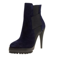 Casadei Navy Blue Suede Platform Ankle Boots Size 37
