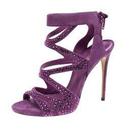Casadei Purple Crystal Embellished Suede Cut Out Peep Toe Sandals Size 41