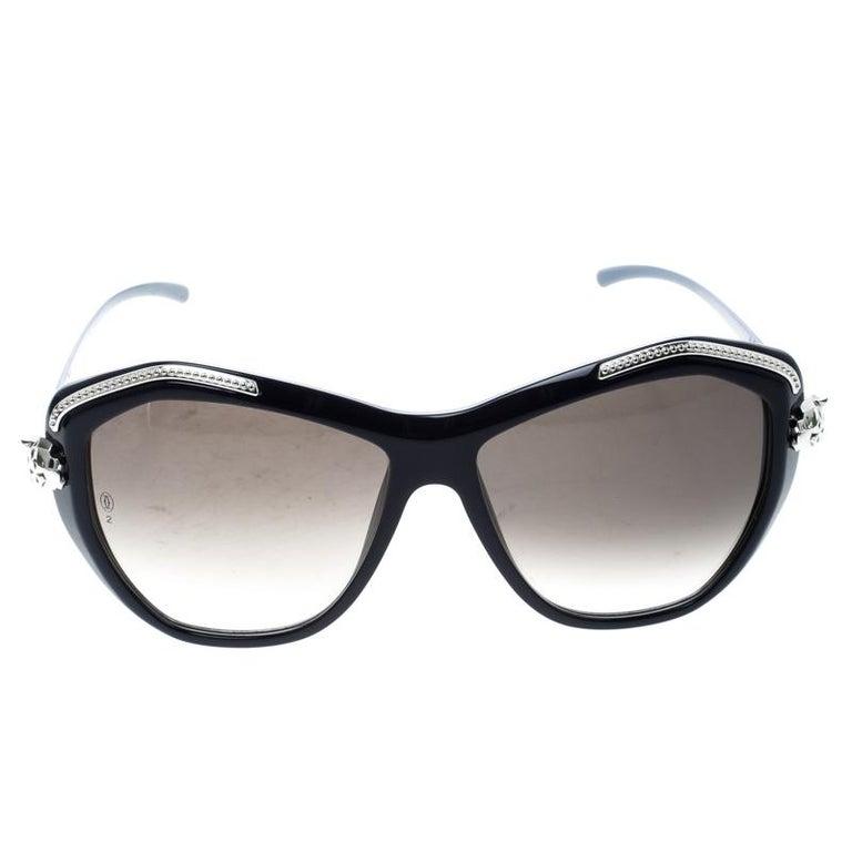 431371b979a Cartier Dark Blue Brown Gradient Panthere De Cartier Sunglasses For Sale