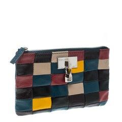 Celine Blue/Multicolor Color Block Leather Zip Pouch